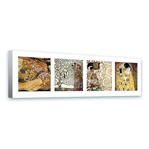 Alonline Art - Water Serpents Tree Life Kiss Collage 4 Gustav Klimt FRAMED STRETCHED CANVAS (100% Cotton) Gallery Wrapped - READY TO HANG | 58
