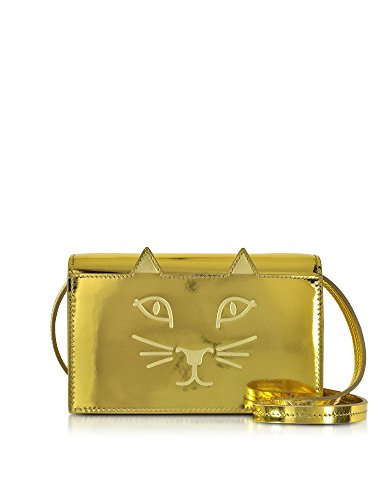 CHARLOTTE OLYMPIA WOMEN'S L001010710 GOLD LEATHER CLUTCH
