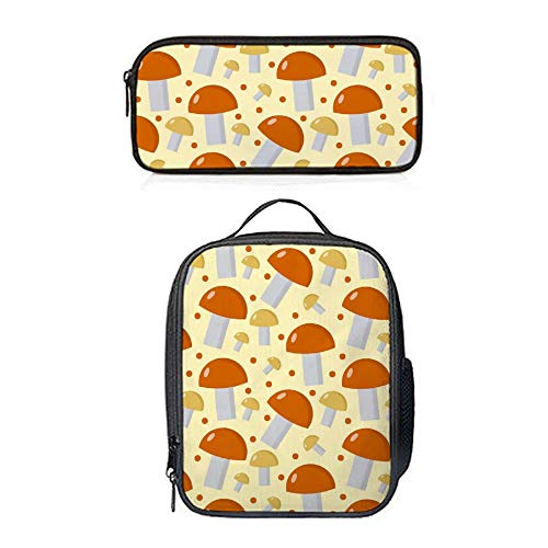 SARA NELL Mushrooms Pattern Boletus Edulis Endless Lunch Bag 2 Sets Kids Lunch Tote Lunch Backpack with Pen Bag Pouch Pencil Case for Boys Girls