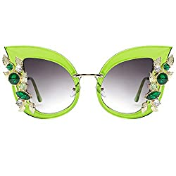 Cat Eye Jeweled Sunglasses with Diamond