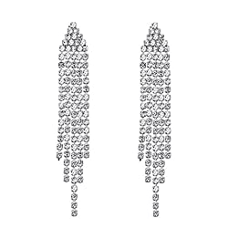 Long Austrian Crystal Tassel Earrings