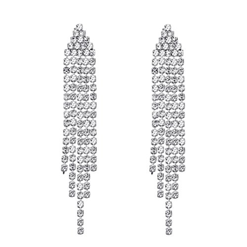 SELOVO Silver Tone Clear Austrian Crystal Chandelier Tassel Bridesmaid Dangle Drop Earrings Chain