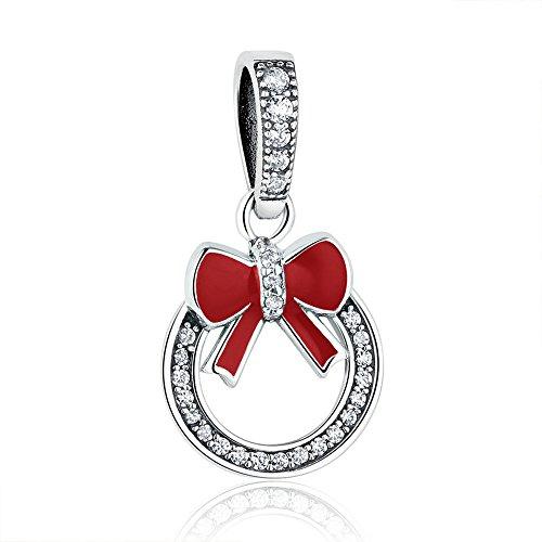 The Kiss Merry Christmas Pinecone Wreath Mistletoe Bells Dangle Charm 925 Sterling Silver Bead Fits European Charm Bracelet (Red 2)