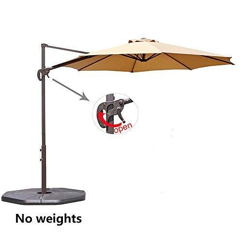 Aluminum Tilt Offset Umbrella - Le Papillon 10 ft Cantilever Umbrella Outdoor Offset Patio Umbrella Easy Open, Tilt & 360 Swivel for Desired Shade All Day