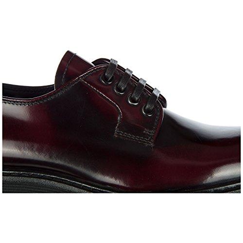Prada En Piel Zapatos Cordones Mujer De Derby Clásico Bordeaux wrwxX1qf