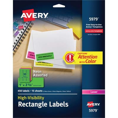 Avery Products - Avery - High-Visibility Laser Labels, 1 x 2