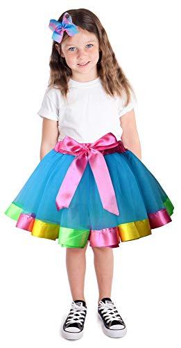 Jasmine Girls 3 Pieces Layered Rainbow Tutu Skirt,Unicorn Headband & Hair Bow for Dress up Costume - http://coolthings.us
