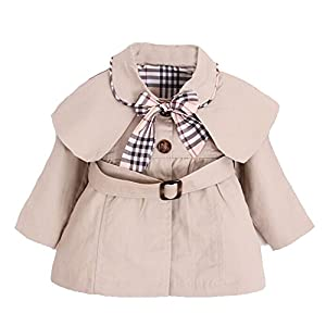 Kids Baby Girl Spring Autumn Trench Coat Fashion Wind Proof Jacket Khaki 0-6 Months/Tag size 5