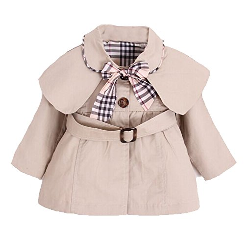 MNLYBABY Kids Baby Girl Spring Autumn Trench Coat Fashion Wind Proof Jacket Khaki 3-4Years/Tag12