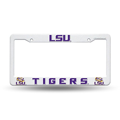 NCAA LSU Tigers Plastic License Plate Frame - White