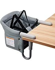 VEEYOO Hook On High Chair - Compact Fold Clip On High Chair for Baby Toddler, Portable Baby High Chairs for Travel or Restaurants (Grey)