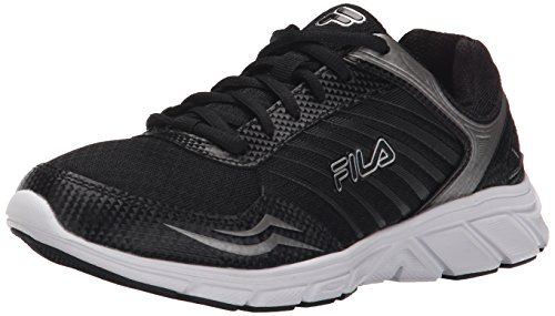 Fila Women's Gamble Running Shoe, Black/Black/Metallic Silver, 7.5 M US