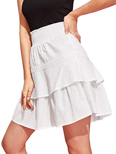 WDIRARA Women's Summer Tiered Layer A Line High Waist Solid Ruffle Mini Skirts White L