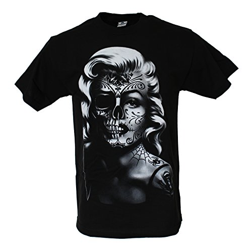 Marilyn Monroe Sugar Skull Zombie Men's Halloween Costume Funny T Shirt X-Large Black -
