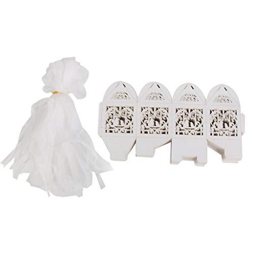 BROSCO White Love Bird Laser Cut Candy Boxes Ribbon Wedding Favor Table Decor 24pcs