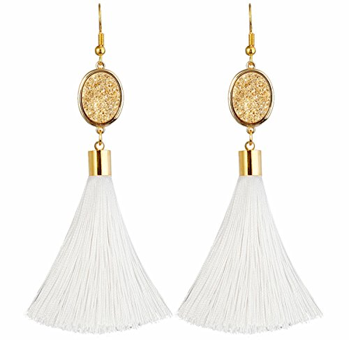 TUMBEELLUWA Tassel Dangle Earrings Healing Crystal Quartz Druzy Fringe Thread Drop Earring Handmade Jewelry for Women,Golden Druzy