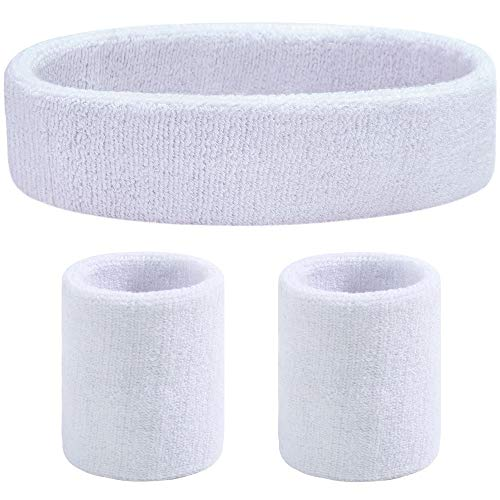 White Headband Sweatband - Favofit Headband/Wristbands for Women Men Girls Boys for Gym Workout & Yoga, 3 Pack, Super Comfy Sports Sweatbands for Football Baseball Basketball Soccer & Tennis, Sweat Out of Your Eyes & Wrists