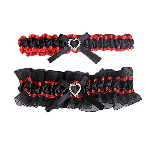2 Pieces - Black + Red Kalolary Wedding Bridal Garter Belt Ruffled Organza  with Satin Bow Heart ...