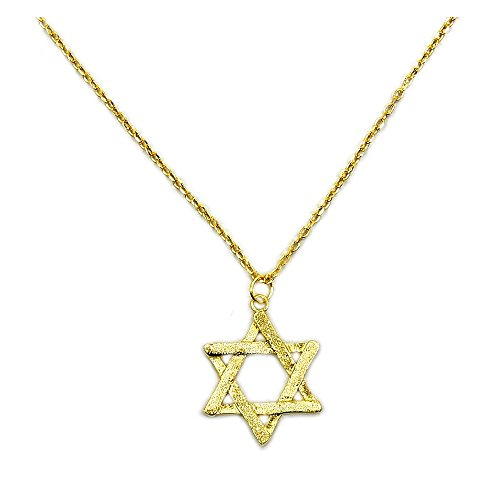 Solid Sterling Silver Gold Vermeil Jewish Star Of David Pendant Necklace