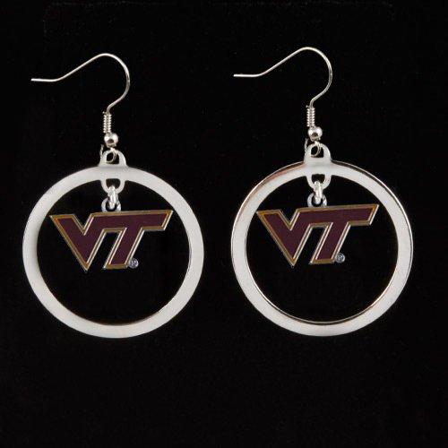 - NCAA Virginia Tech Hokies Floating Logo Hoop Earrings