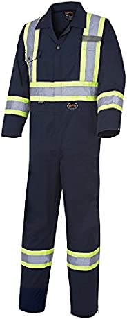 Pioneer Men CSA Work Coverall - Easy Boot Access, High Visibility, Navy Blue