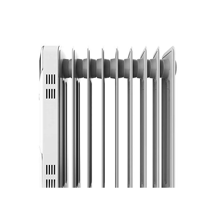 41i01e7TN7L Radiador de aceite de 9 módulos con una potencia de 2000 w; incluye un sistema para enrollar y almacenar el cable y ahorrarte espacio; indicador luminoso de encendido Termostato regulable con tres niveles de potencia para optimizar el consumo de energía: eco (800 w), medio (1200 w) y máximo (2000 w) Sistema easygo para un fácil transporte; cuenta con un mango ergonómico y ruedas multidireccionales para desplazarlo cómodamente