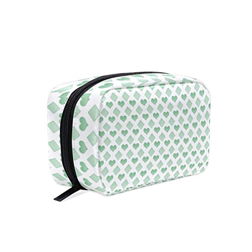 Green Love Makeup Bag Multi Compartment Pouch Storage Cosmetic Bags for Women Travel by Sunshine