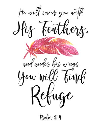 WeSellPhotos Psalm 91:4 He Will Cover You with Poster, Print, Picture or Framed Photograph, Bible Verse Collection – Christian Wall Art Decor and Gifts (8x10 Unframed Print)