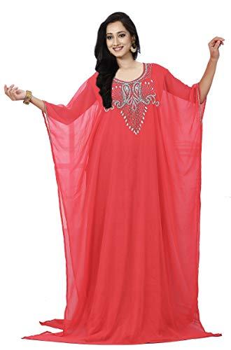 KoC Women's Kaftan Maxi Dress Farasha Caftan KFTN131-Coral ()