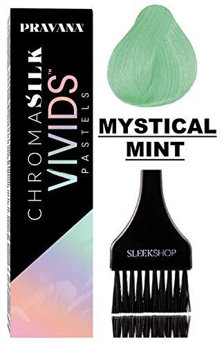 Pravana ChromaSilk VIVIDS PASTELS Hair Color Shades with Silk & Keratin Amino Acids Dye (with Sleek Brush) Haircolor Pastel (Mystical Mint) (Hair Dye Mint)