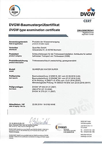 """41i02LddZ5L Quarzflex® Trinkwasserschlauch 13 mm (1/2""""), 10 m Rolle KTW/DVGW""""SUPER FLEXIBEL"""""""