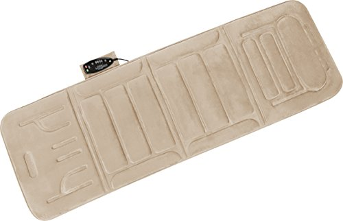 - Relaxzen 10-Motor Massage Plush Mat with Heat and Extra Foam, Beige