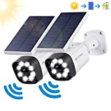 Solar Lights Outdoor Motion Sensor - 800Lumens Spotlight Solar Security Lights IP66 Waterproof, Wireless Solar Flood Light for Porch Garden Patio Driveway Pathway, Aluminum, 2-Pack (White)