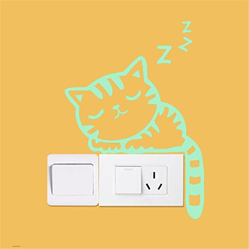 Home Decor,Sumen Cute Luminous Light Switch Sticker Cat Glow