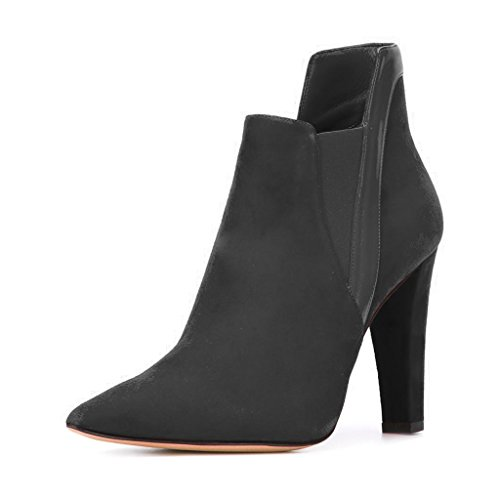 FSJ Women Elegant Pointed Toe Ankle Boots Chunky Heels Faux Suede Slip On Shoes For Comfort Size 4-15 US Black qs1PU