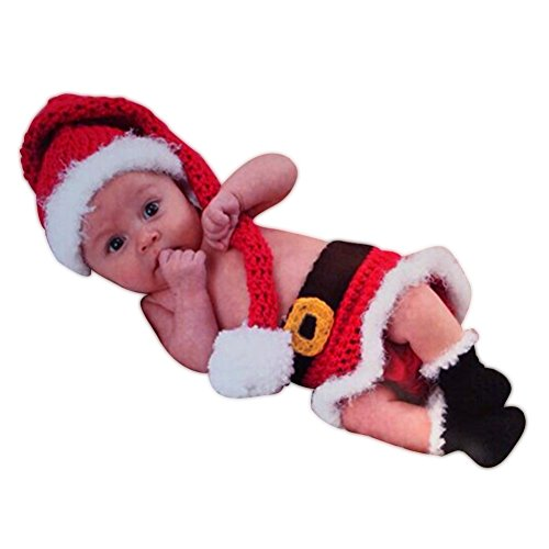 SUNBABY Newborn Baby Christmas Santa Knitted Crochet Photo Photography Prop Lovely Hats Costume Outfits (Girl Skirt Suit)