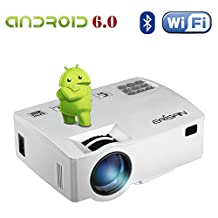 ERISAN 2200 Lumens Android 6.0 Projector (Warranty Included), Bulit-In WiFi Bluetooth Mini Smart Video Beam, Portable Multimedia LED Projector for Movie Video Games APP (White)