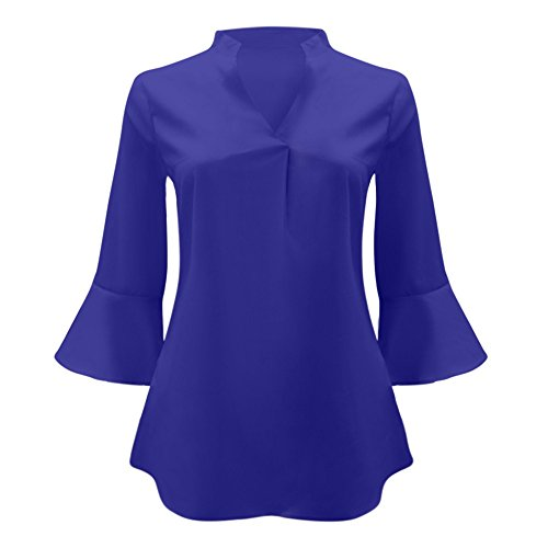 Blouses Tee Femme Bleu Grande V Shirt Couleur Chemisiers Tops Blouse et Shirt Solide Weant Col Blouse Chemise Taille Longue Femme Femme Manche Casual rR1BqAawr