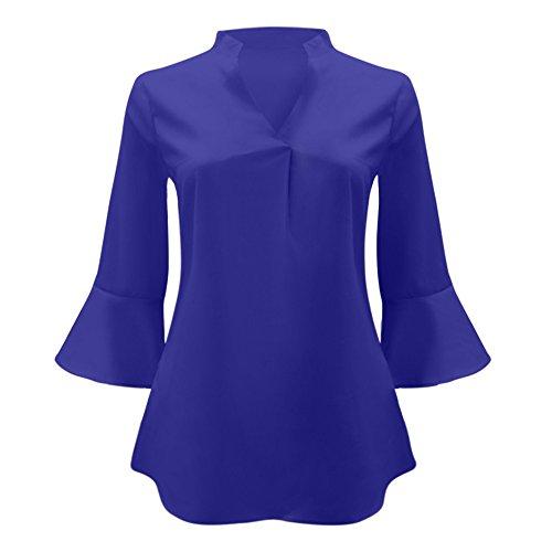 Blouses Femme Taille Manche Chemise et Blouse Weant Blouse V Col Chemisiers Longue Bleu Grande Shirt Shirt Femme Tee Solide Femme Casual Tops Couleur RnSq1w4AT