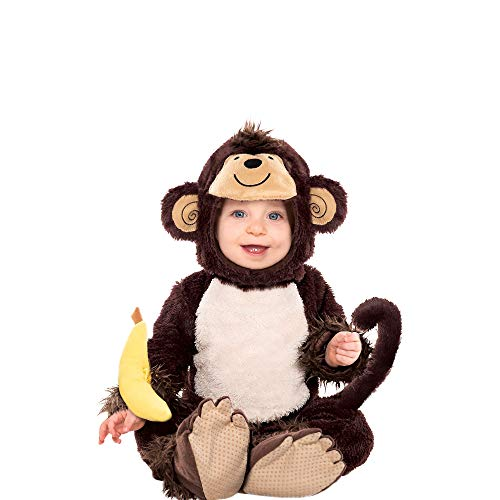AMSCAN Baby Monkey Costume for Infants, 6-12M, with Included accessories -