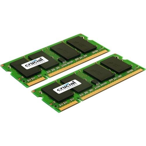 Crucial 4GB Kit (2GBx2) DDR2 667MHz (PC2-5300) CL5 SODIMM 200-Pin Notebook Memory Modules CT2KIT25664AC667 / CT2CP25664AC667 ()