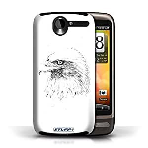 KOBALT? Protective Hard Back Phone Case / Cover for HTC Desire G7 | Eagle/Bird Design | Sketch Drawing Collection