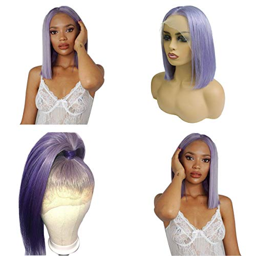 8 Inch Short Straight Lilac Lace Front Wig 13x6 Deep Part Bob Human Hair Wigs 180% Density Pre Plucked Glueless Colored Frontal Bob Haircut Bleached Knots (Best Bob Haircuts For Thin Hair)