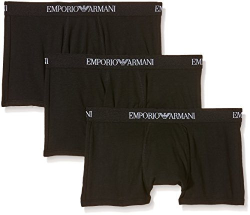 Emporio Armani Men's 3-Pack Cotton Trunks, New Black, Medium