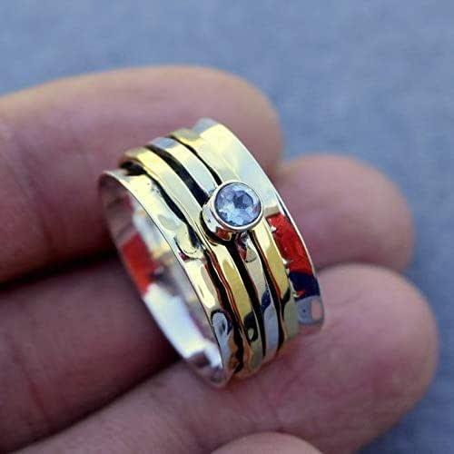 Blue Topaz Amethyst Peridot 925 Sterling Silver Spinner Ring Meditation bw9887