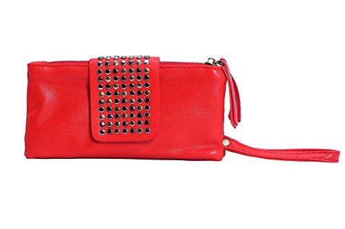 Leopard Style rosso Tote Rivet Pattern Bag Design Punk cinturino con Aolvo xqgYnFwC7Y