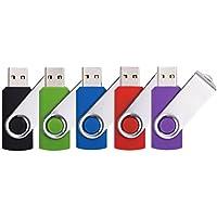 DDC 5pcs 16GB Swivel Design USB 2.0 Flash Drive Memory Stick (5 Mixed Colors: Black Blue Green Purple Red)
