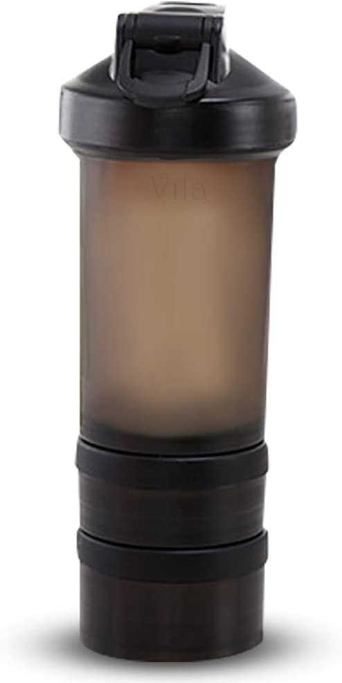 Vila Blender and Shaker Bottle, 16 Ounce, Lightweight, Portable, Plastic Sipper, Great for Protein Shakes, Eggs, Juice Blends & Baking Mixes, Stainless Steel Mixer Ball & 2 Storage Containers Included