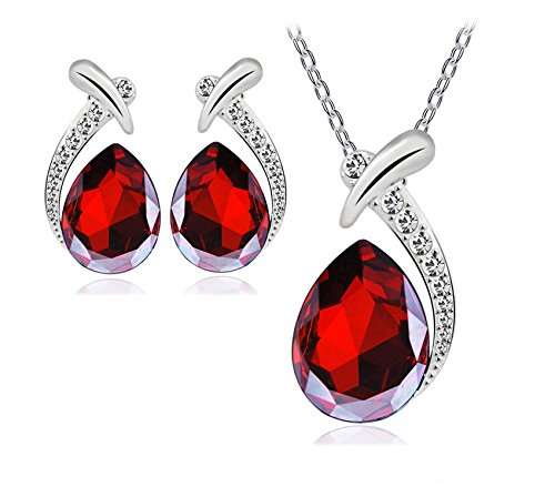 ver Plated Crystal Rhinestone Pendant Necklace Earring Stud Jewelry Set Clearance (Red) ()