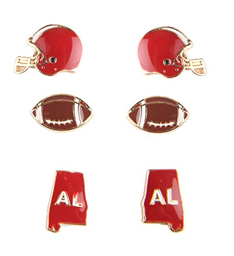 Big Al Alabama Costume (Rosemarie Collections Women's 3 Pairs Fashion Stud Earrings Love Alabama Football)